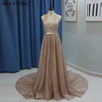 Glitter Rose Gold Court Train Long Prom Dresses 2018 Halter V Neck Party Gowns Vestids de festa Backless Evening Dress With Sash