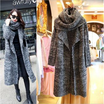 Winter Knitted Sweater With Scarf Shawl Turn Down Collar Loose Long Cardigan Light/Dark Gray Casual Open Stitch Sweaters Coat