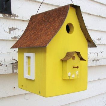 Birdhouse Industrial Home n Garden Recycled Rustic Metal Roof Lemon Yellow