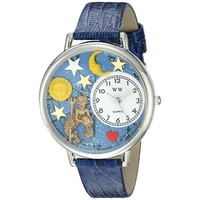 SheilaShrubs.com: Unisex Aquarius Royal Blue Leather Watch U-1810001 by Whimsical Watches: Watches