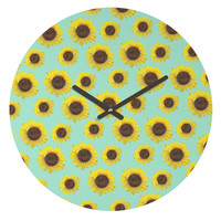 Allyson Johnson Sunflower Pattern Round Clock