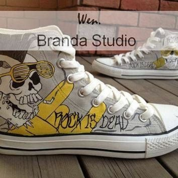 DCCK8NT rock style skull design studio hand painted shoes 51 99usd paint on custom converse s