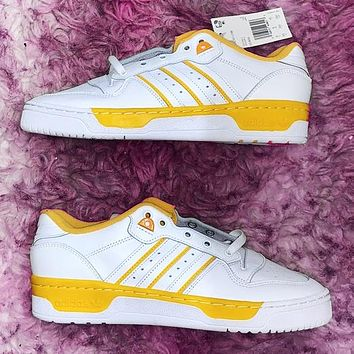 ADIDAS RIVALRY Clover Trending Flat Shoes Classic Sneakers White-yellow line