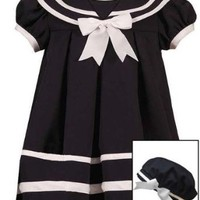 Rare Editions Baby-Girls Infant Navy Sailor Nautical Pleated Dress Hat 3-Piece set, 24 Months