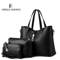 3 Pcs/ Set Women Handbags PU Leather Women Totes Bag Ladies Designs Bag Handbag+Messenger Bag+Purse