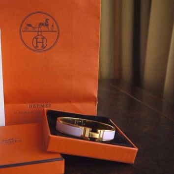 HERMES CLIC CLAC ENAMEL BANGLE H BRACELET ROSE PINK GOLD PLATED GM