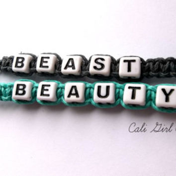 Couples keychain set / beauty and the beast / black and teal