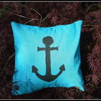 "#Anchors Away  in Blue 12"" Square Pillow Sham #Sail away with this #pillow bright #blue with #black #hand-painted anchor"