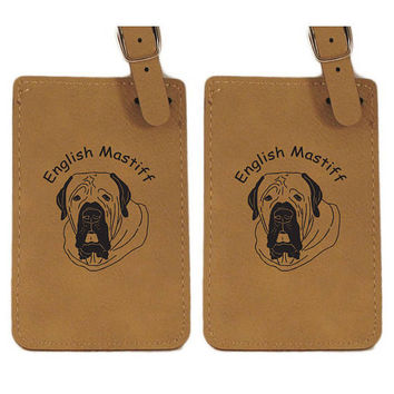 English Mastiff Head Luggage Tag 2 Pack L3155