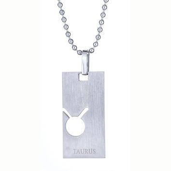 Metro Jewelry Stainless Steel Taurus Horoscope Pendant Necklace