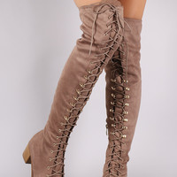 Corset Lace Almond Toe Fitted OTK Boots