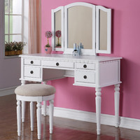 Poundex Bobkona St. Croix Bedroom Vanity Set with Stool in White