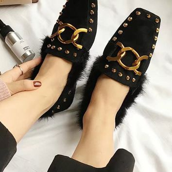 Black Faux Suede Studs Metal Chain Detail Flat Shoes