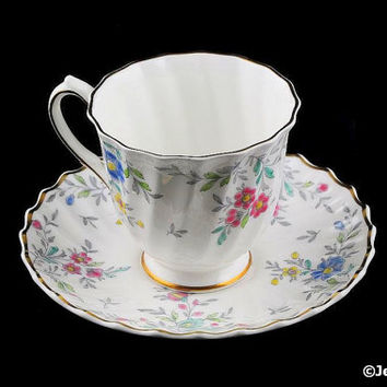 Royal Doulton Tea Cup & Saucer Set Pastoral 1940s Hand Painted England Demitasse Footed Cup Saucer Set
