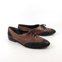 Bass Oxford Shoes Leather Vintage 1980s Two tone Black and Brown Women's size 7 1/2 N