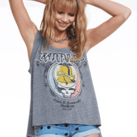 Stay in unison and true fan base with your overall look with the Grateful Dead Liberty Bell Drop Shoulder Boxy Tee by Chaser Brand. Featuring a wide scoop neckline, ultra soft stretch tri-blended-knit fabrication, a skull with liberty bell, rose print, and