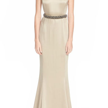 Hand Beaded Liquid Crepe Gown