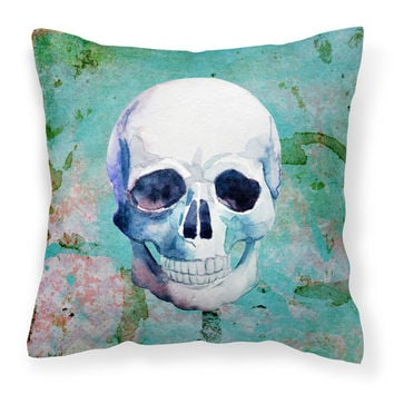 Day of the Dead Teal Skull Fabric Decorative Pillow BB5123PW1818