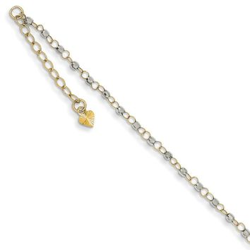 14kt Yellow Gold 9 Inch Two Tone Beaded Adjustable Ankle Bracelet