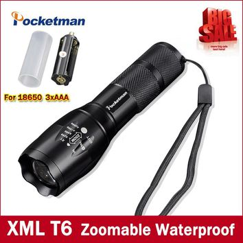 High Bright E17 3800 Lumens CREE XM-L T6 LED Flashlight 5-Mode Zoomable linternas LED Torch