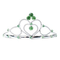 Green Double Hearts Rhinestone Tiara - Tiaras - ACCESSORIES