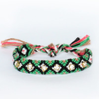 Rhinestone Friendship Bracelet - Watermelon