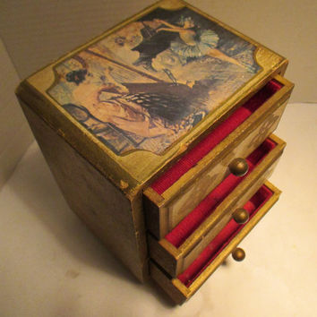 Vintage Florentine Style Wood MUSIC BOX and JEWELRY Box Combination nice gilt wood with ballerina decoration vanity accessory dresser