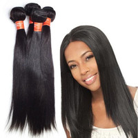 Versatile Soft and Bouncy Naturally Straight Virgin Human Hair Sew-in Extensions,AAAAAA+ 10-30'' Real Indian Remy Silky Straight Weave Wefts