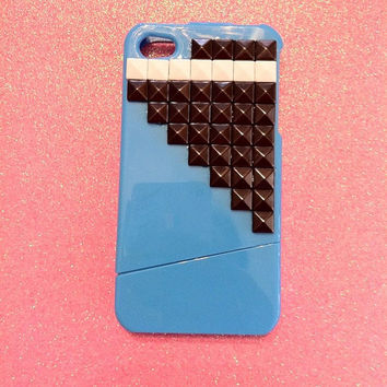 iPhone 4 4s Case  Blue with Gun Metal and White Studs by JMxSweets