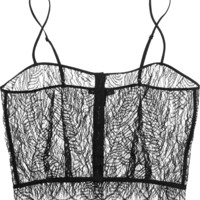 Kiki de Montparnasse - Enchante stretch charmeuse-trimmed Chantilly lace camisole