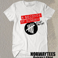 New 5 Seconds of Summer The 5SOS Bisides Stuf Symbol Printed on White T- Shirt  For Men or Women Size TS 58