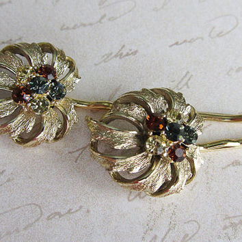 Leaf Rhinestone Hair Pins,  Bobby Pin,  gold, yellow, blue, amber