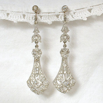 Antique Rhinestone Drop Earrings Art Deco 1920s Pave Dangle Bridal Statement Earrings Great Gatsby Flapper Jewelry Vintage Wedding ScrewBack