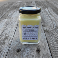 Banana Soy Candle Square Victorian Jar 100% Soy Eco Wick Yellow
