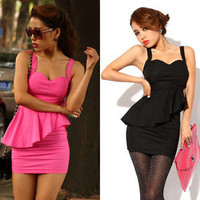 Sexy Punk Rockabilly Backless Peplum Chic Cocktail Evening Club Party Mini Dress
