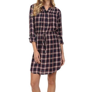 DCCKAB3 Lucky Brand Bungalow Plaid Dress Navy Multi