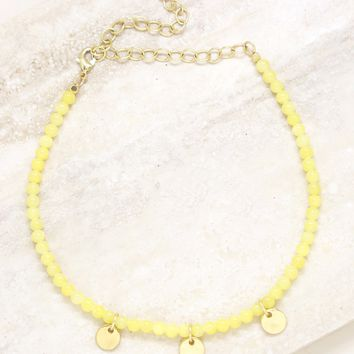 Mellow Yellow Disc choker in Yellow and Gold