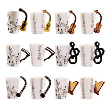 Novelty Ceramic Guitar & Note Cup | Coffee, Tea, Milk