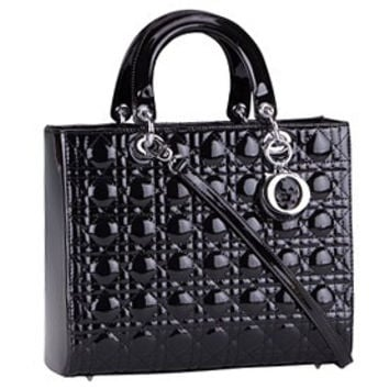 Dior Medium Lady Cannage Bag Patent Leather Black