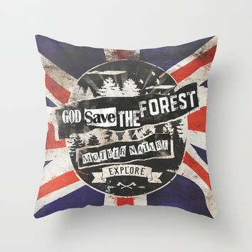 God save the forest Throw Pillow by HappyMelvin