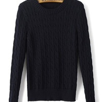 Blue Navy Cable Knit Slim Fit Sweater