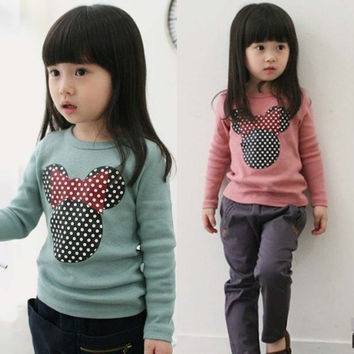 New Kids Toddler Clothes Girls Polka Dot Long Sleeve Casual T Shirt Blouse Tops