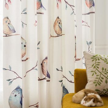 Drapes with Lovely Birds