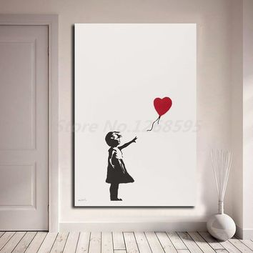 Banksy Girl With Balloon Wall Art Canvas Poster And Print Canvas Painting Decorative Picture For Office Living Room Home Decor