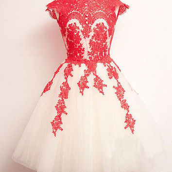 Red Floral Crochet Skater Dress