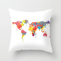 World Map Throw Pillow by ArtisanObscure Prints