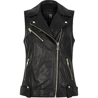 Black leather biker jacket