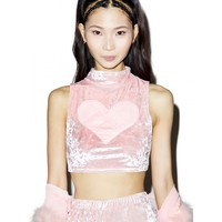 X DOLLS KILL VELVET LOVIN' CROP TOP