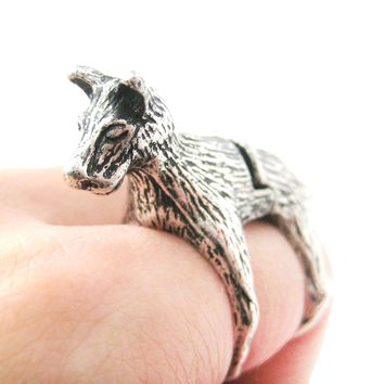 3D Dog Shaped Animal Wrap Armor Knuckle Joint Ring in Silver | Size 5 to 9
