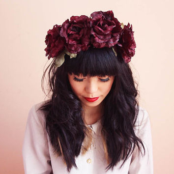 rustic floral rose headband - burgundy, spring, antique rose, summer festival, wedding, headpiece, hair wreath, headband, lana del rey